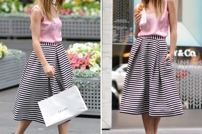 Сочетание полосатой юбки
