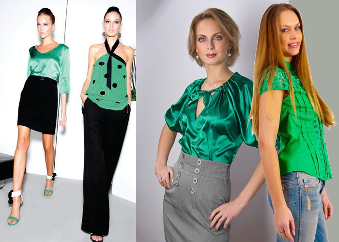 С чем надеть зеленую блузку