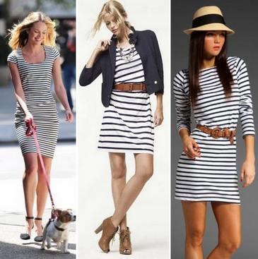 С чем носить летние платья в полоску