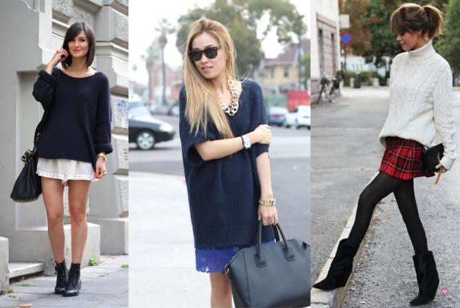 Короткая юбка и джемпер