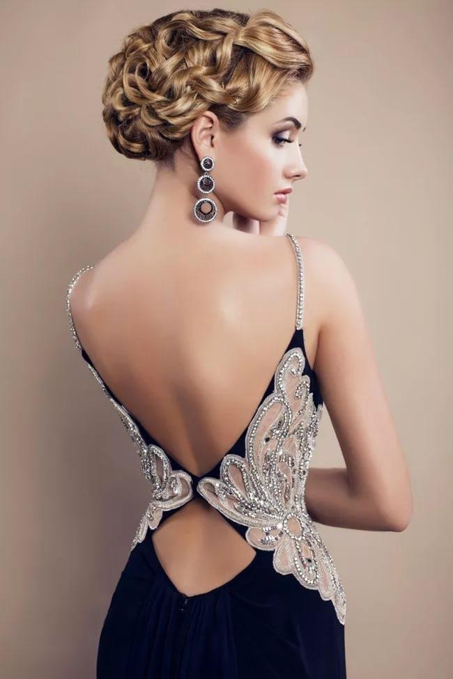 Платье открытая спина цепочки