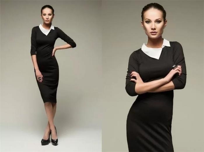 Модель платье с воротником