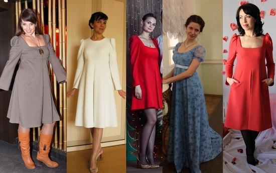 Складки на платье завышенной талии