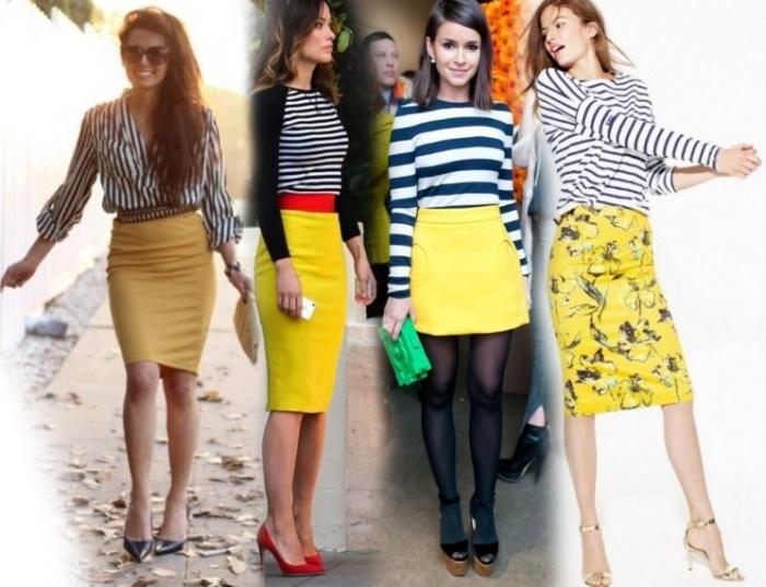 С чем носит юбку лимонного цвета