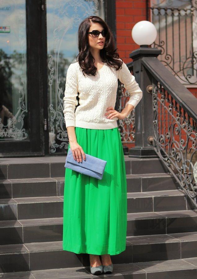 Чем одеть темной зеленой юбкой