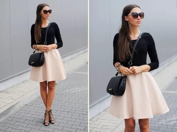 С чем носить светло бежевую юбку