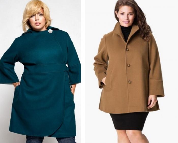 c3211c61d13 Полной женщине лучше носить однотонные вещи и избегать принта с крупным  рисунком. Стильные пальто для полных из последних линеек пошиты из ...