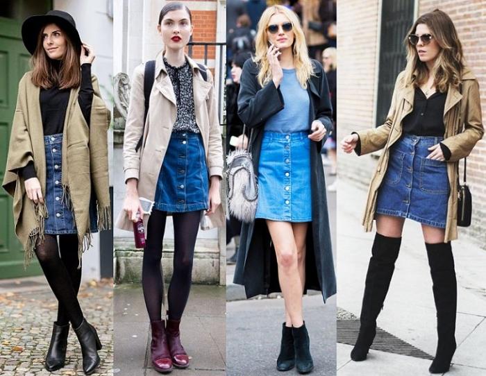 dce16b1a2d5 Актуальны голубые оттенки денима и яркие насыщенные тона джинсовых юбок.  Юбка чистого цвета «индиго» - подходящий вариант для делового образа.