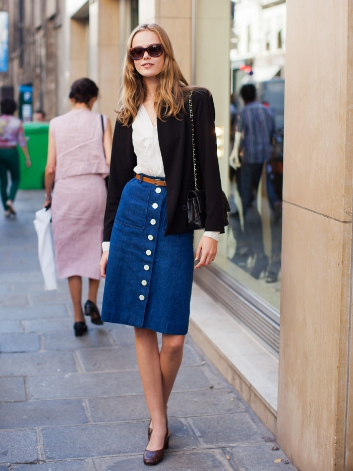 Джинсовые юбки средней длины