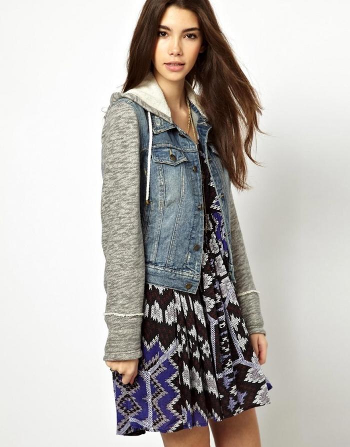a97066c4f7d Модели джинсовок без воротника являются полной противоположностью курткам с  капюшонами. Этот вариант гармонично смотрится с женственными блузами нежных  ...