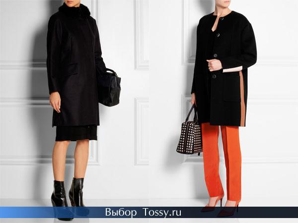 Черное пальто с меховым воротником и с оранжевой вставкой