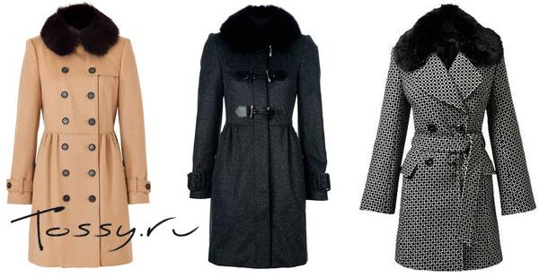 Стильные твидовые пальто с меховым воротником