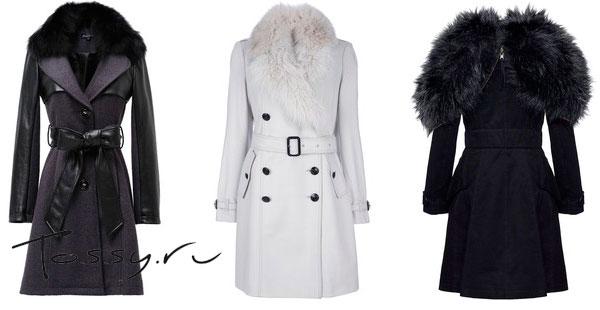 Фото белого и  черных пальто с натуральным мехом