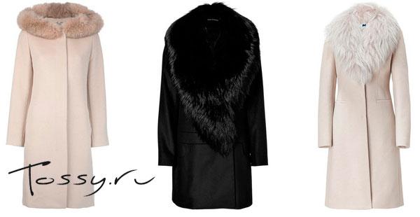 Длинные теплые пальто пастельного и черного цвета