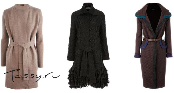 Женское зимнее вязаное пальто 2013