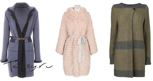 Вязаное пальто с мехом средней длины