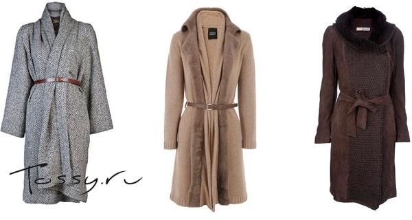 Элегантные модели пальто с вязаными вставками
