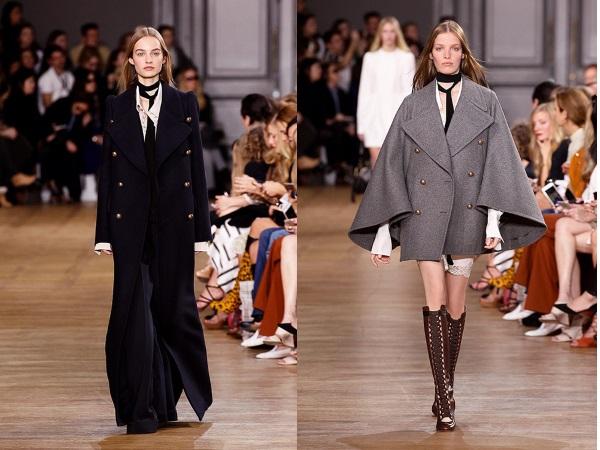 Длиное черное пальто и серое широкое пальто