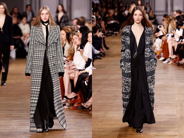 пальто в клетку и длинное вязаное пальто