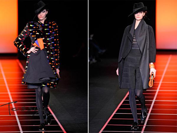 Черное пальто с разноцветными вставками и черное классическое