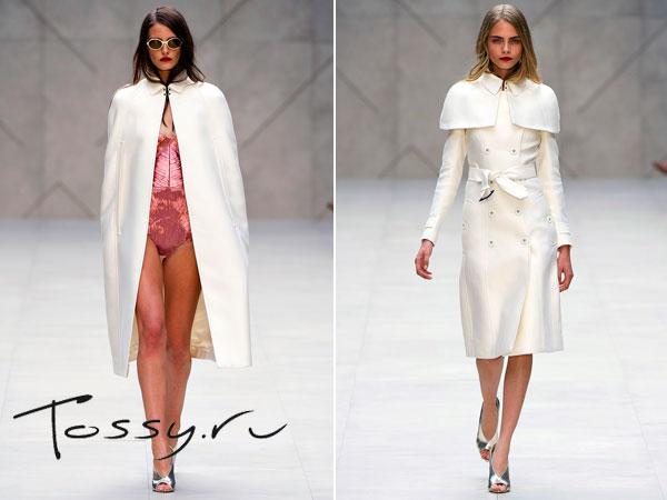 Белое женское пальто Burberry Prorsum 2013