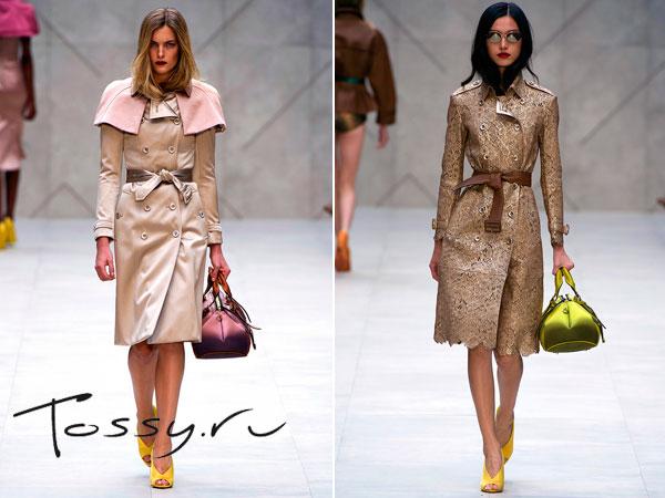 Оригинальные модели бежевого пальто длинною по колено