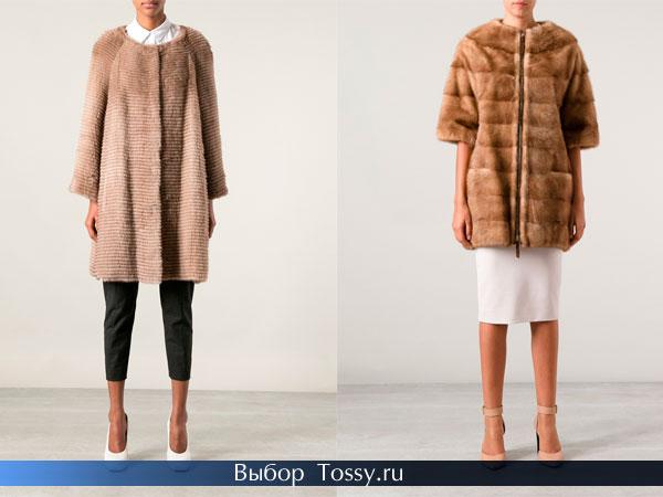 Фото мехового пальто без воротника