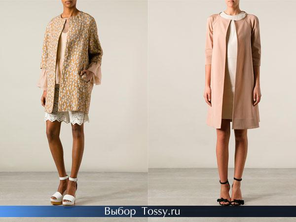 Бежевое весеннее женское пальто
