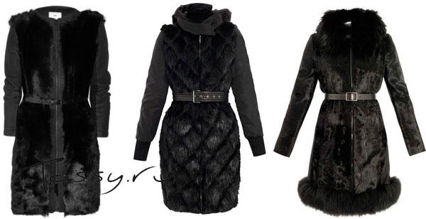 Черные шубы-пальто из натурального меха