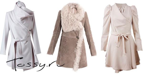Белое женское пальто с запахом