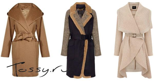 Удлиненные модели женского пальто с запахом