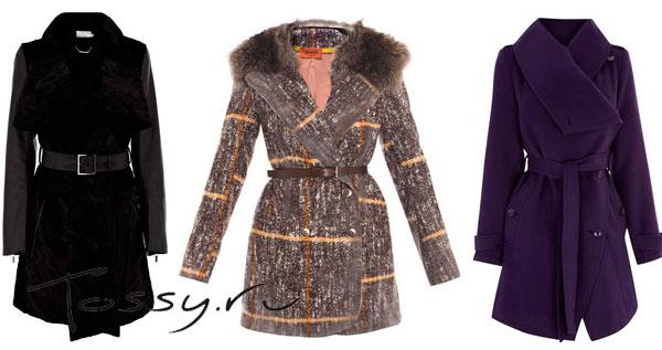 Женское пальто черного и фиолетового цвета, а также пальто в полосочку