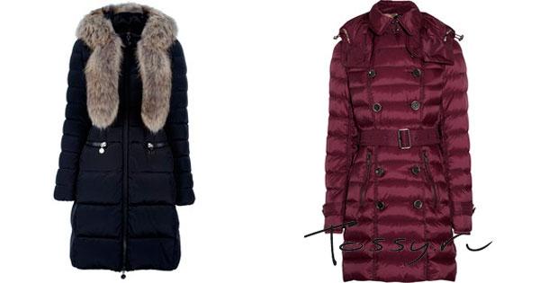 Удлиненное зимнее пальто с меховым воротом и бордовое пальто