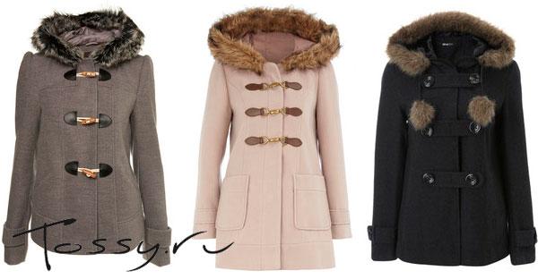 Укороченное шерстяное пальто с капюшоном
