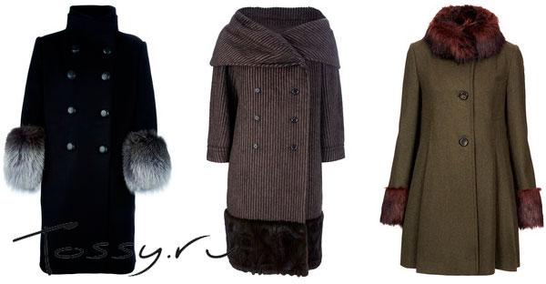 Теплое зимнее пальто с мехом