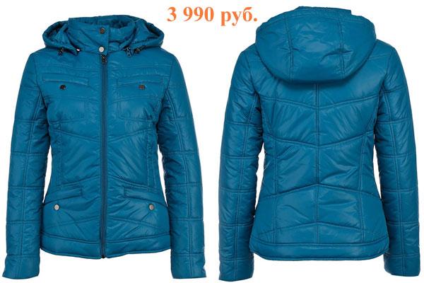 Короткая синяя куртка спортивного цвета