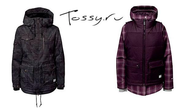 Черная и фиолетовая женская зимняя куртка