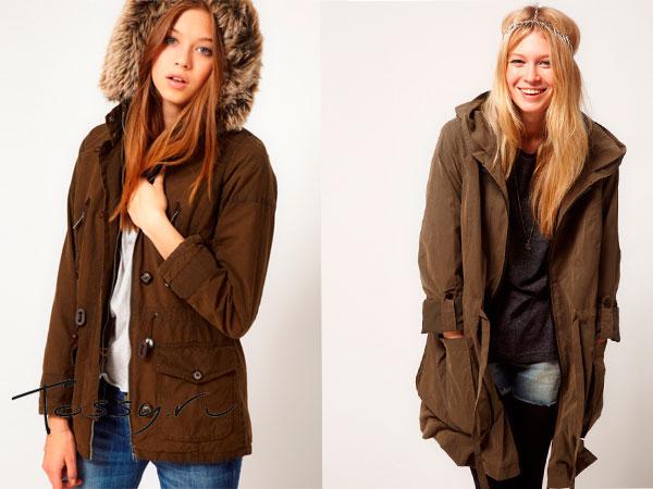 Стильные куртки с меховым капюшоном