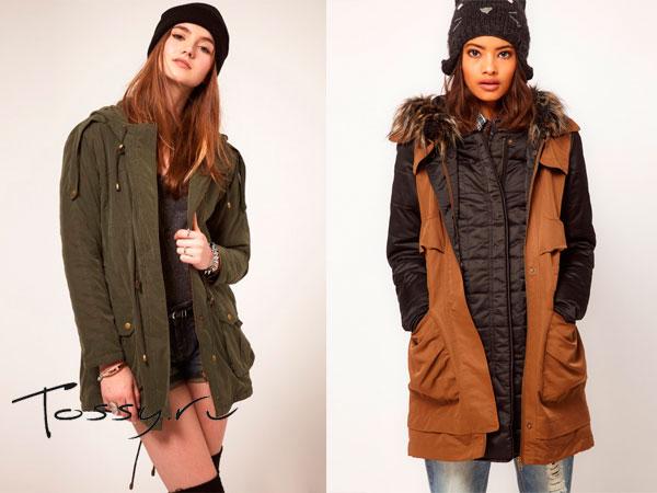 Удлиненные куртки болотного и коричневого цвета с кожаными вставками