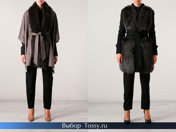 Укороченные женские пальто с мехом