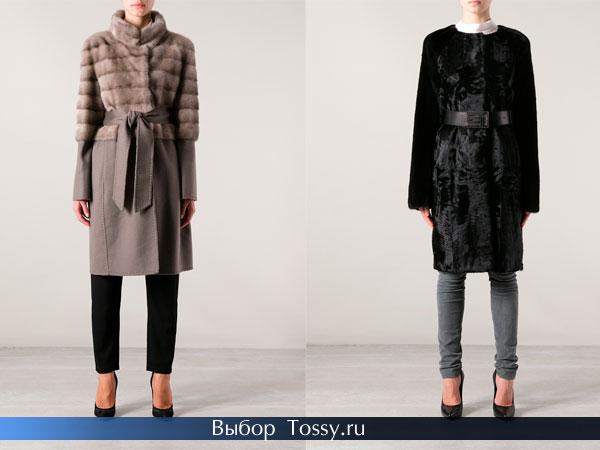 Фото серого и черного мехового пальто 2014