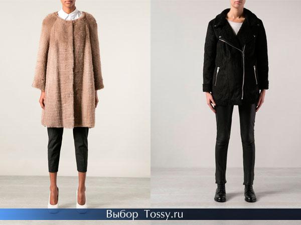 Меховое пальто без воротника и удлиненная дубленка