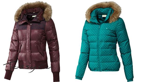 Бордовая и бирюзовая пуховая куртка с мехом