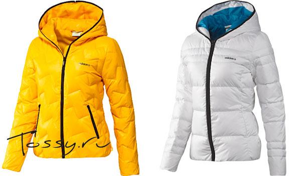 Ярко-желтая и белая теплая куртка