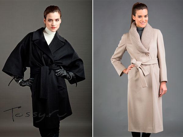 Пальто с запахом и большим воротником