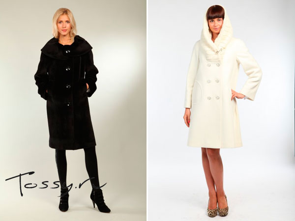 Черное прямое пальто и белое с капюшоном