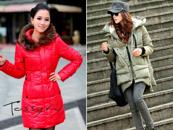 Красный пуховик и куртка-парка на пуху
