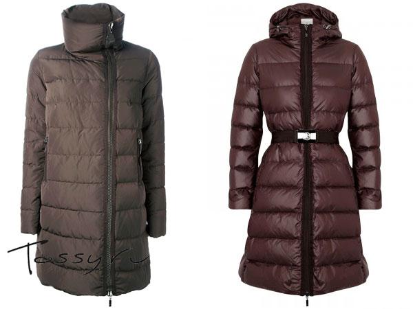 Бежевое и бардовое пуховое пальто