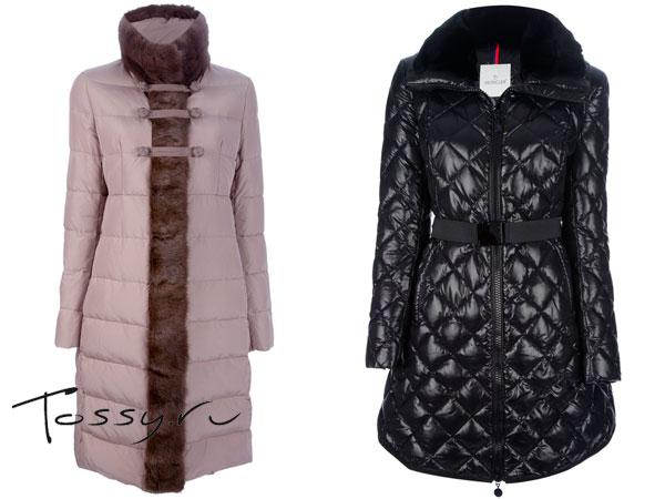 Розовое пальто с мехом и черное стеганное