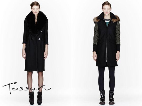 Объемные пальто с меховым воротником и капюшоном